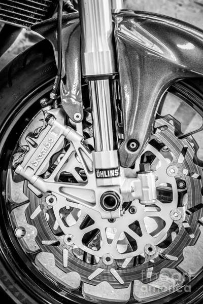 Fork Digital Art - Racing Bike Wheel With Brembo Brakes And Ohlins Shock Absorbers - Black And White by Ian Monk