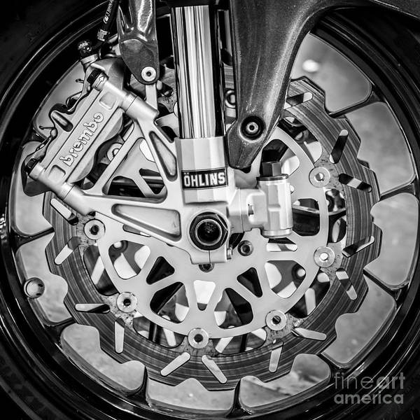Bike Race Photograph - Racing Bike Wheel With Brembo Brakes And Ohlins Shock Absorbers - Square - Black And White by Ian Monk