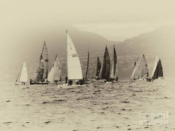 Cultivation Digital Art - Racing Sailboats by Charles H Davis