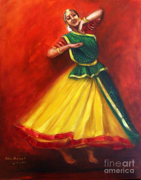 Painting - Radha Dancing Thinking Of Krishna by Asha Sudhaker Shenoy