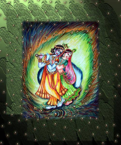Hindu Goddess Wall Art - Painting - Radha Krishna by Harsh Malik