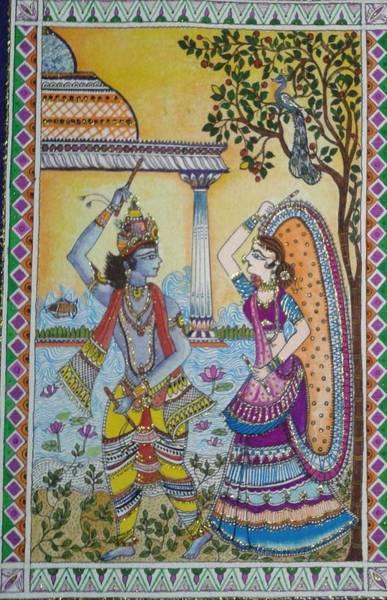 Madhubani Mixed Media - Radha Krishna by Kalpana Somalwar