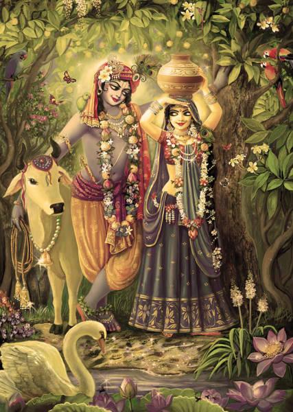 Wall Art - Painting - Radha-krishna Radhakunda 2 by Lila Shravani