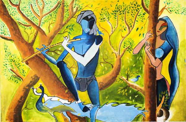 Hindu Goddess Wall Art - Painting - Radha Krishna by Vicasso Destiny