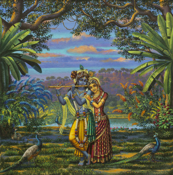Wall Art - Painting - Radha Krishna by Vrindavan Das