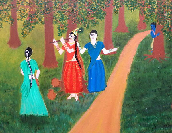 Hindu Goddess Wall Art - Painting - Radha Playing Krishna by Pratyasha Nithin