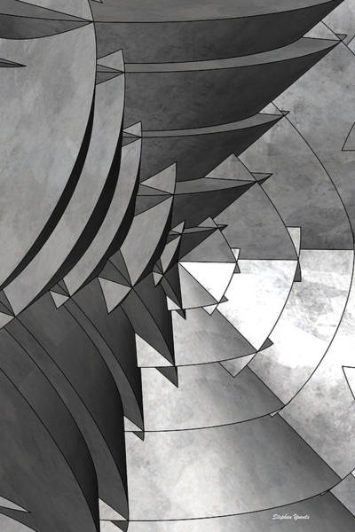 Wall Art - Digital Art - Radial Edges - Galvanized by Stephen Younts