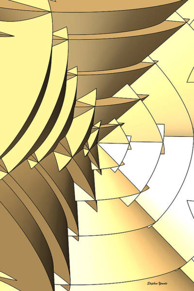 Wall Art - Digital Art - Radial Edges - Gold by Stephen Younts