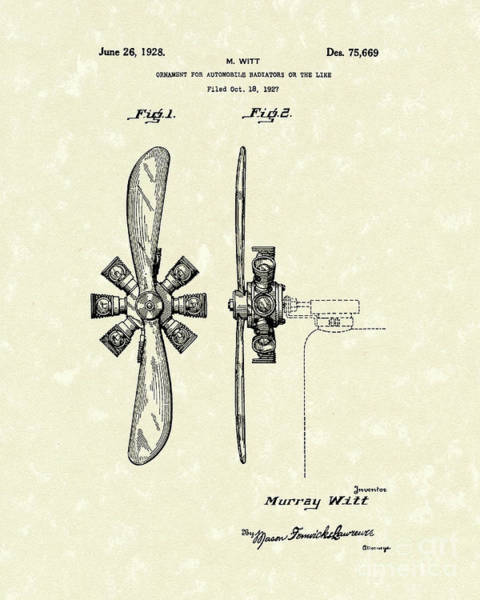 Drawing - Radiator Ornament 1928 Patent Art by Prior Art Design