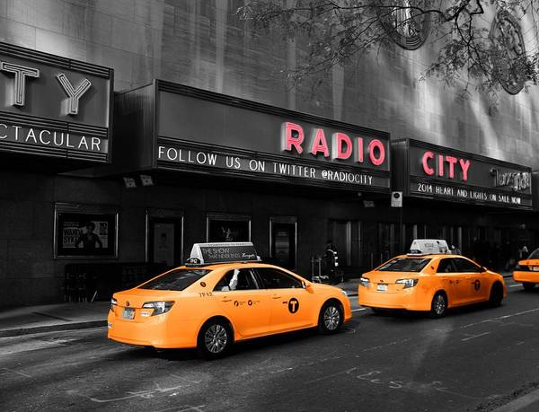 Radio City Music Hall Photograph - Radio City Music Hall And Taxis In New York City by Dan Sproul