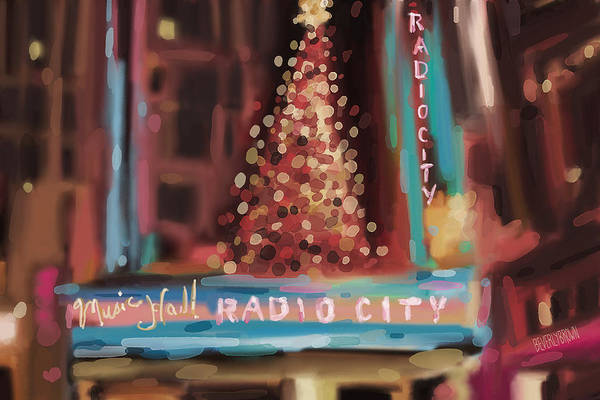Urban Scene Painting - Radio City Music Hall Christmas New York City by Beverly Brown