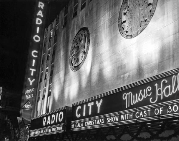 Wall Art - Photograph - Radio City Music Hall Marquee by Underwood Archives