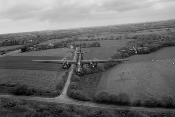 Photograph - Raf Bostons On Low-level Strike Black And White Version by Gary Eason