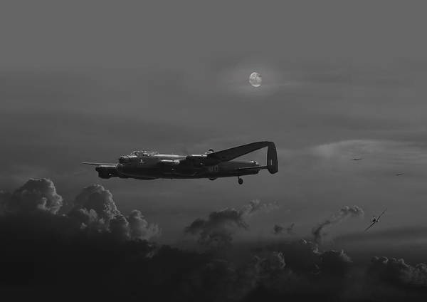 Bomber Photograph - Raf Lancaster - Night Combat by Pat Speirs