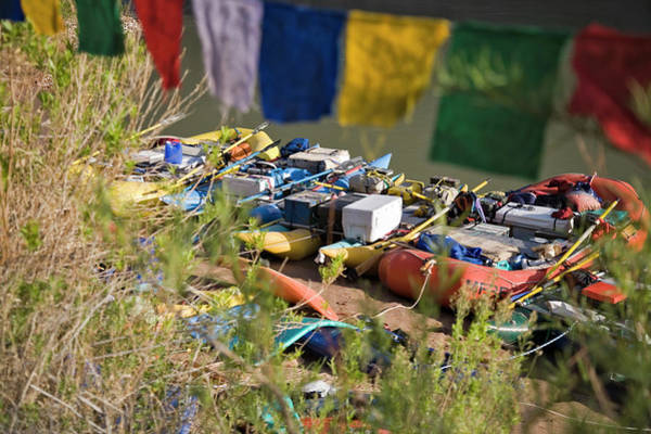 Raft Wall Art - Photograph - Rafts And Prayer Flags, Grand Canyon by Whit Richardson