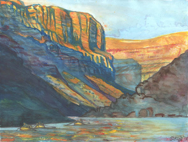 Grand Rapids Painting - Rafts In Marble Canyon by Steve King