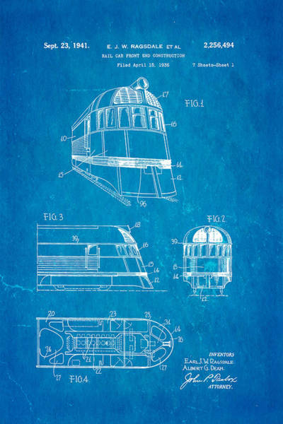 Loco Wall Art - Photograph - Ragsdale Pioneer Zephyr Train  3 Patent Art 1941 Blueprint by Ian Monk