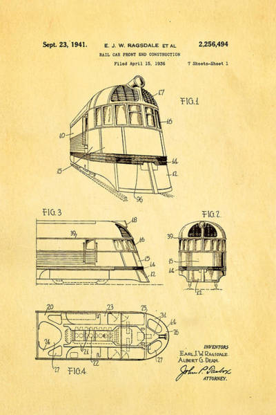 Loco Wall Art - Photograph - Ragsdale Pioneer Zephyr Train 3 Patent Art 1941 by Ian Monk