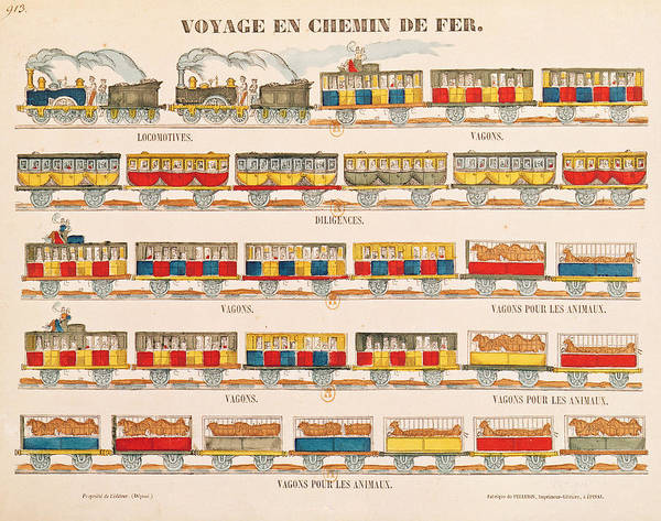 Old Car Drawing - Rail Travel In 1845  by French School