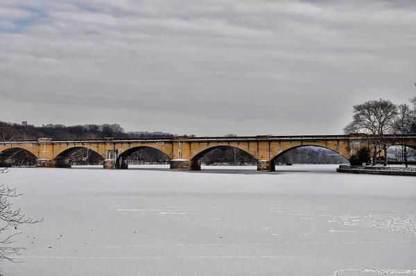 Frozen River Digital Art - Railroad Bridge Over The Schuylkill River by Bill Cannon