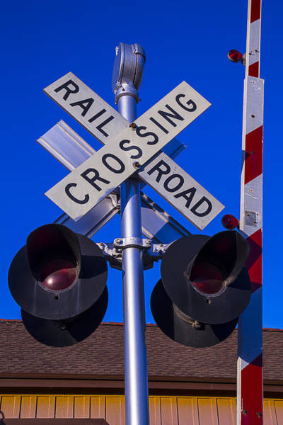Road Sign Photograph - Railroad Crossing by Garry Gay