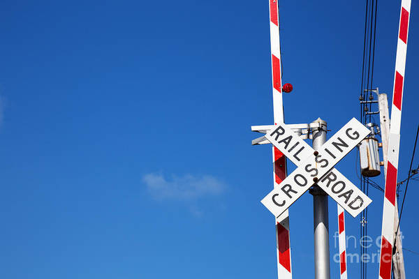 Stop Light Photograph - Railroad Crossing Sign by Jane Rix