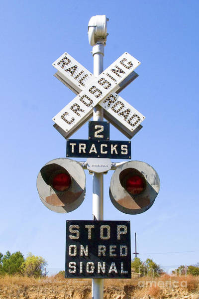 Photograph - Railroad Crossing Sign by Richard J Thompson
