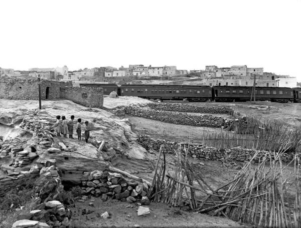 1900 Photograph - Railroad In Laguna Pueblo by Underwood Archives