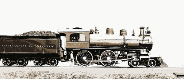 Locomotive Drawing - Railroad Locomotive And Coal Car, Chicago And Alton Railroad by Litz Collection