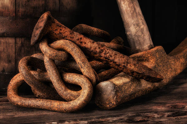 Chain Link Photograph - Railroad Spike Still Life by Tom Mc Nemar