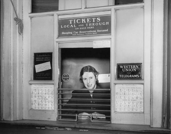 Wall Art - Photograph - Railroad Ticket Window by Underwood Archives
