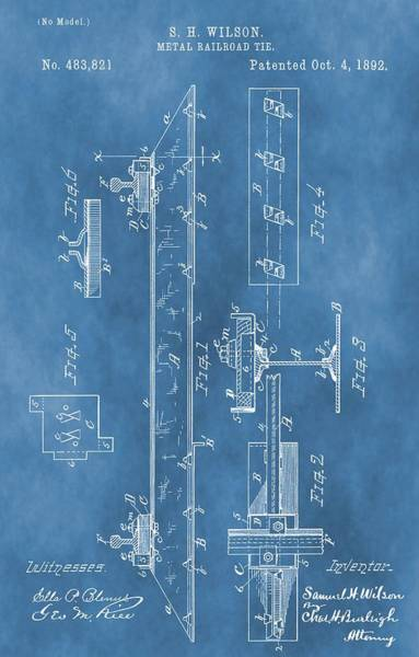 Digital Art - Railroad Tie Patent On Blue by Dan Sproul