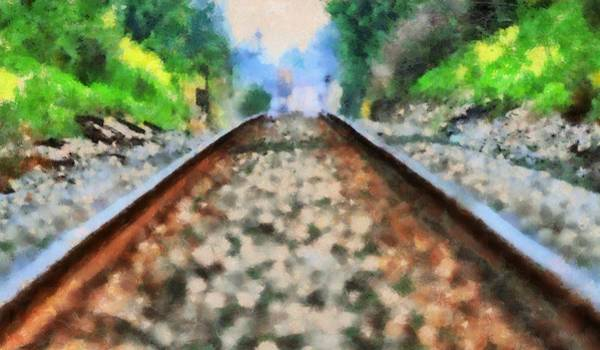 Model Trains Painting - Railroad Tracks In The Summer Heat by Dan Sproul