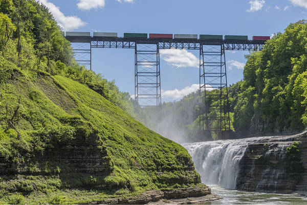 Finger Lakes Railway Photograph - Railroad Trestle And Upper Falls At Letchworth State Park by Jim Vallee