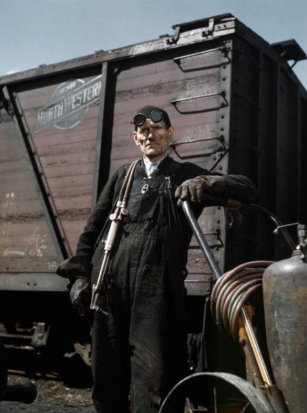 Chicago And North Western Photograph - Railroad Welder, 1943 by Granger