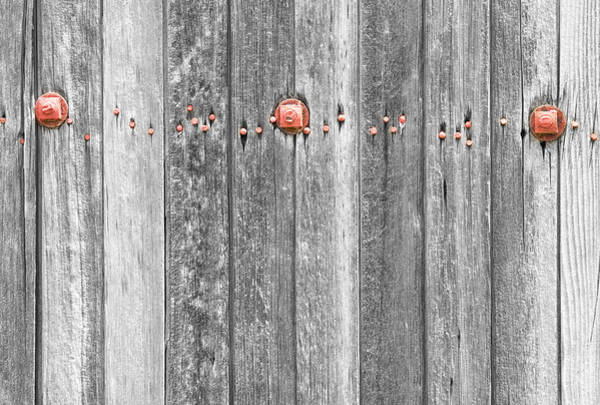 Photograph - Railroad Wood Texture And Red Bolts Bwsc by James BO Insogna