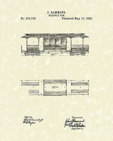 Wall Art - Drawing - Railway Car 1892 Patent Art by Prior Art Design