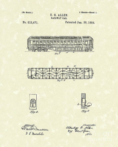 Wall Art - Drawing - Railway Car 1894 Patent Art by Prior Art Design