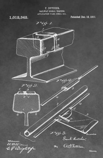 Digital Art - Railway Detonator Patent by Dan Sproul