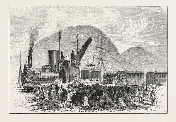 Wall Art - Drawing - Railway Enterprise In New Zealand, Hoisting The First Truck by New Zealand School