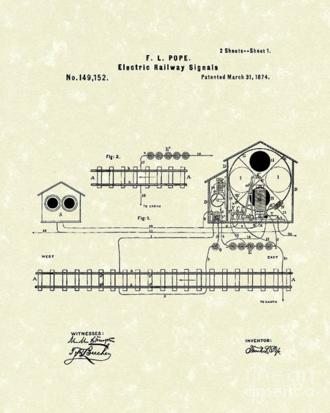 Drawing - Railway Signals 1874 Patent Art by Prior Art Design