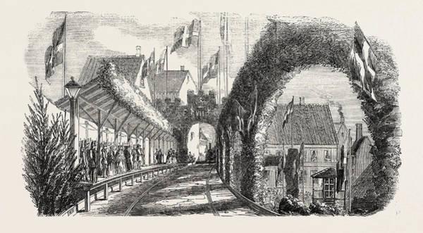 Railroad Station Drawing - Railway Station Flensburg 1854 by English School