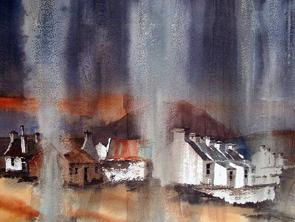 Mixed Media - Rain Fall On Dooagh Achil by Val Byrne