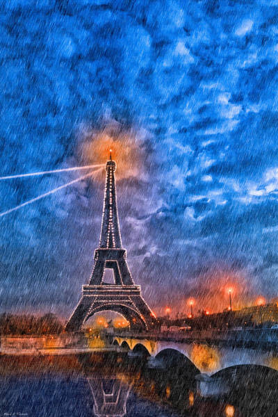 Photograph - Rain Falling On The Eiffel Tower At Night In Paris by Mark E Tisdale