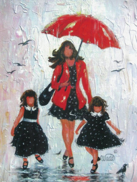 Wading Birds Wall Art - Painting - Rain Girls Red  Clean by Vickie Wade