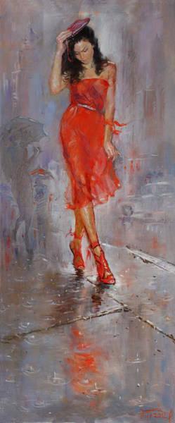 New York Painting - Rain In Manhattan by Ylli Haruni
