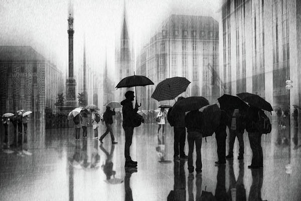 Wall Art - Photograph - Rain In Munich by Roswitha Schleicher-schwarz