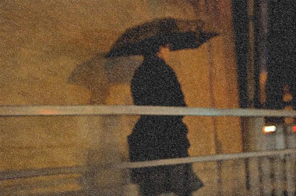 Photograph - Rain. Lady In Black. Impressionism by Jenny Rainbow