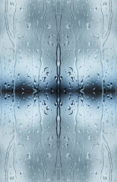 Vertical Abstract Photograph - Rain On Window Pane by Silvia Otte