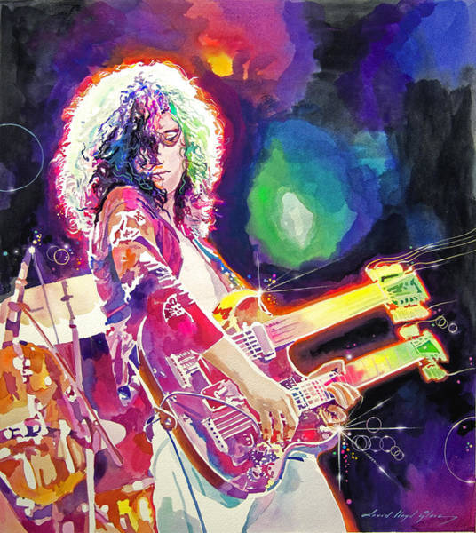 Rock Music Jimmy Page Wall Art - Painting - Rain Song Jimmy Page by David Lloyd Glover